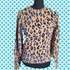 ANN TAYLOR puff sleeve leopard sweater
